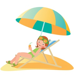 Girl on the beach in a deckchair vector
