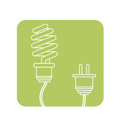 Label save bulb with power cable vector