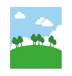 landscape with sky and trees vector image