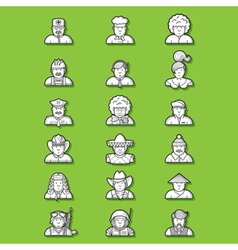 large set of contour avatars of different vector image