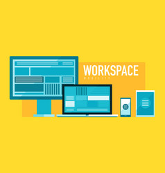 Mobile workspace devices concept vector