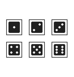 monochrome pixel-art pixelated black dices with vector image