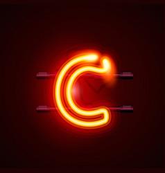 Neon font letter c art design singboard vector