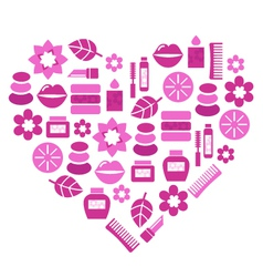 pink cosmetic heart vector image vector image