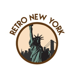 Retro vintage new york travel sticker vector
