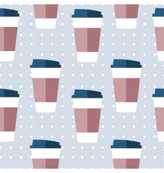Seamless paper coffee glasses vector