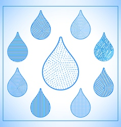 Set of abstract geometric water drops icons vector image vector image