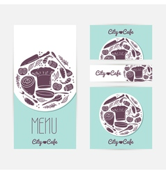 Set of identify cards templates with doodle food vector