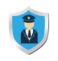 Shield with security symbol isolated icon vector
