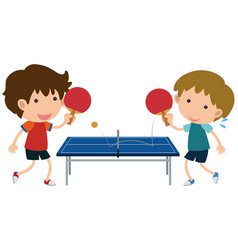 two boys playing table tennis vector image