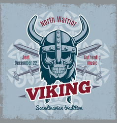 vintage viking poster vector image vector image
