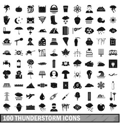 100 thunderstorm icons set simple style vector