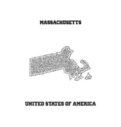 Label with map of massachusetts vector