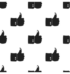 Patriotic thumb up icon in black style isolated on vector