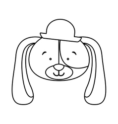 Monochrome contour with face of groom dog vector