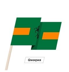 Qwaqwa ribbon waving flag isolated on white vector