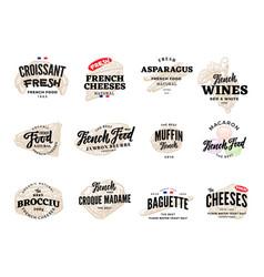 Sketch french food logos set vector