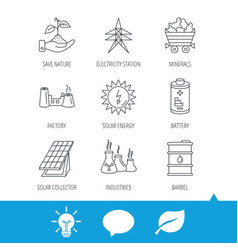 solar collector energy battery and oil barrel vector image