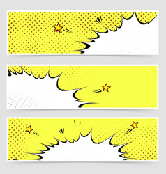 Bright yellow comic book style explosion headers vector