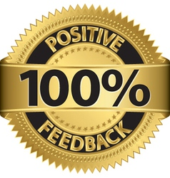 100 percent positive feedback gold label vector image
