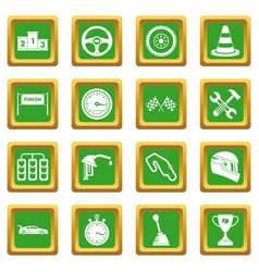 Racing speed icons set green vector