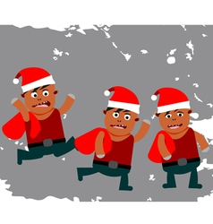Set of funny little santa claus vector