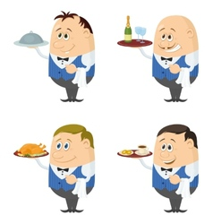 Waiters with trays set vector
