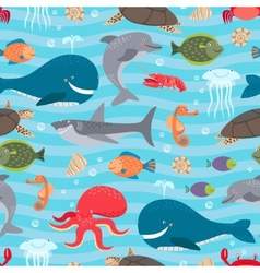 Sea creatures seamless background vector