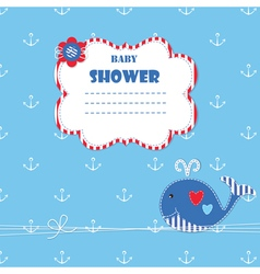 Baby shower with cute whale 4 vector image