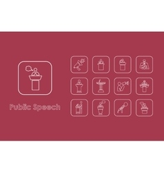 Set of public speech simple icons vector
