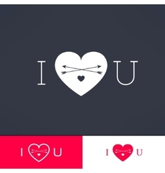 Set of i love you hipster dark design with vector