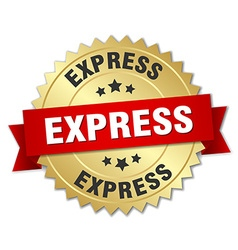 Express 3d gold badge with red ribbon vector