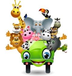 animal cartoon in green car vector image