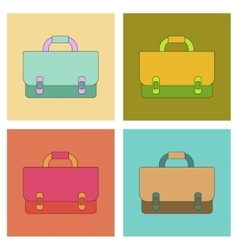 assembly flat icons school bag backpack vector image
