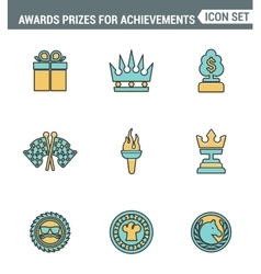 Icons line set premium quality of awards prizes vector