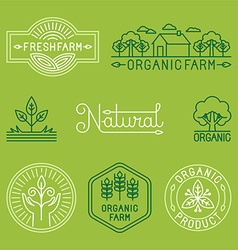 agriculture and organic farm line logos vector image