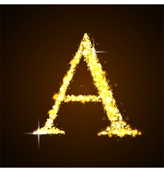 Alphabets a of gold glittering stars vector