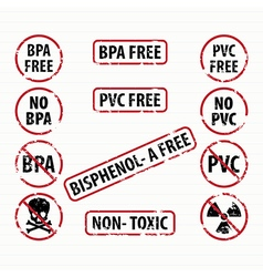Bisphenol-A and PVC free stamps set vector image