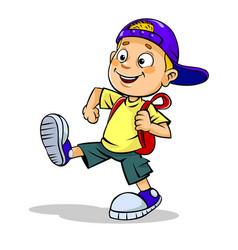 boy walks on red arrow vector image vector image