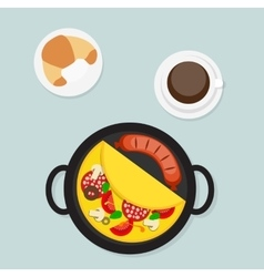 Breakfast omelet with sausage icon in modern flat vector