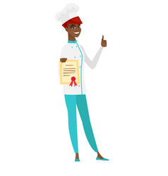 Chef cook showing certificate and thumb up vector