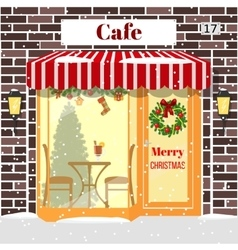 Christmas decorated cafe or coffee shop building vector