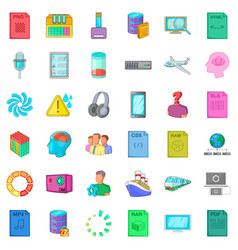 Downloading icons set cartoon style vector