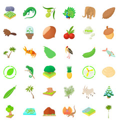 Eco resource icons set cartoon style vector