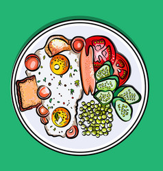 English breakfast on a plate vector