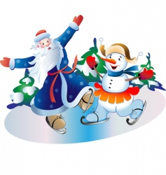 father frost and snowball vector image vector image