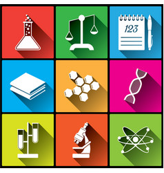 Flat chemistry square icons set vector