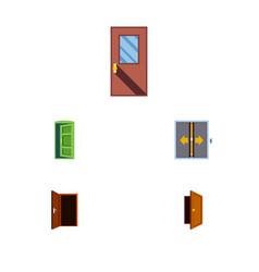 flat icon door set of approach door frame and vector image