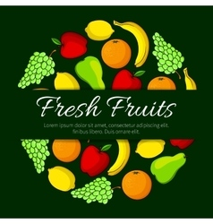 Fresh fruits round organic fruit poster vector