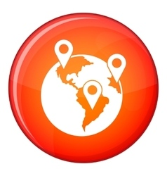 Globe and map pointers icon flat style vector